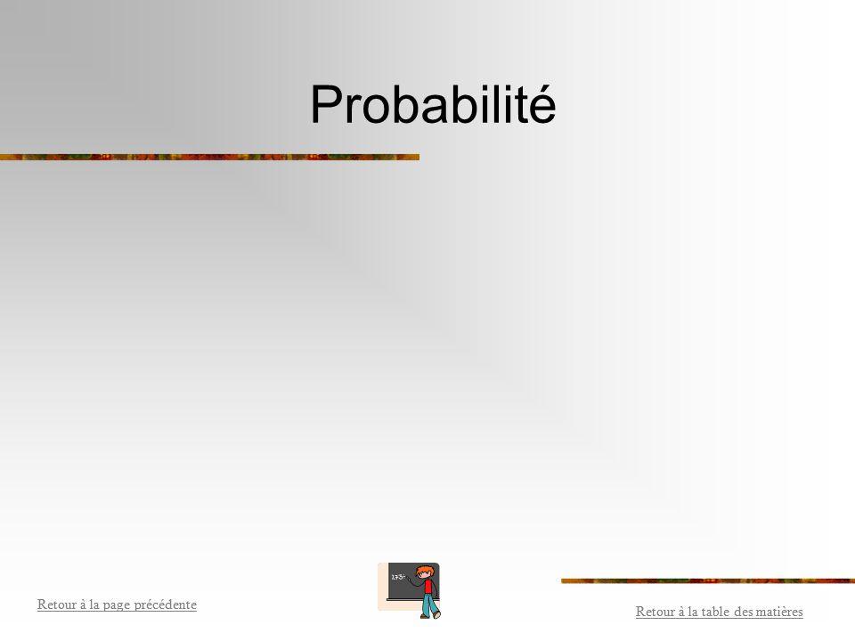 Probabilité Retour à la table des matières Retour à la page précédente