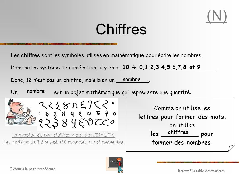 (N) Chiffres Comme on utilise les lettres pour former des mots,