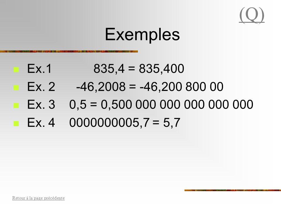 (Q) Exemples. Ex.1 835,4 = 835,400. Ex. 2 -46,2008 = -46,200 800 00. Ex. 3 0,5 = 0,500 000 000 000 000 000.