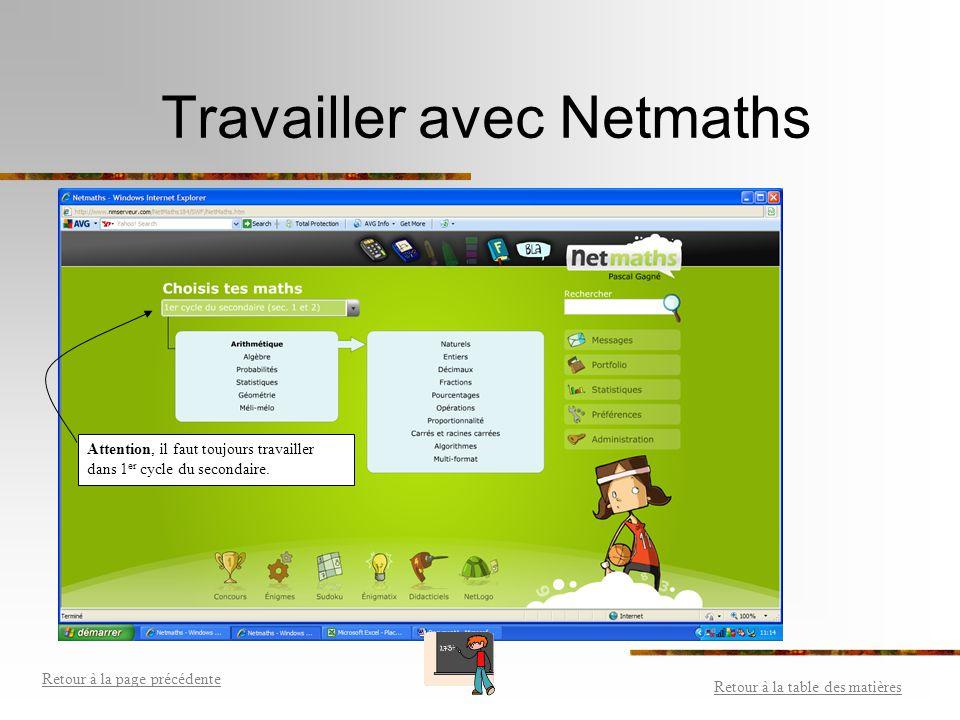 Travailler avec Netmaths