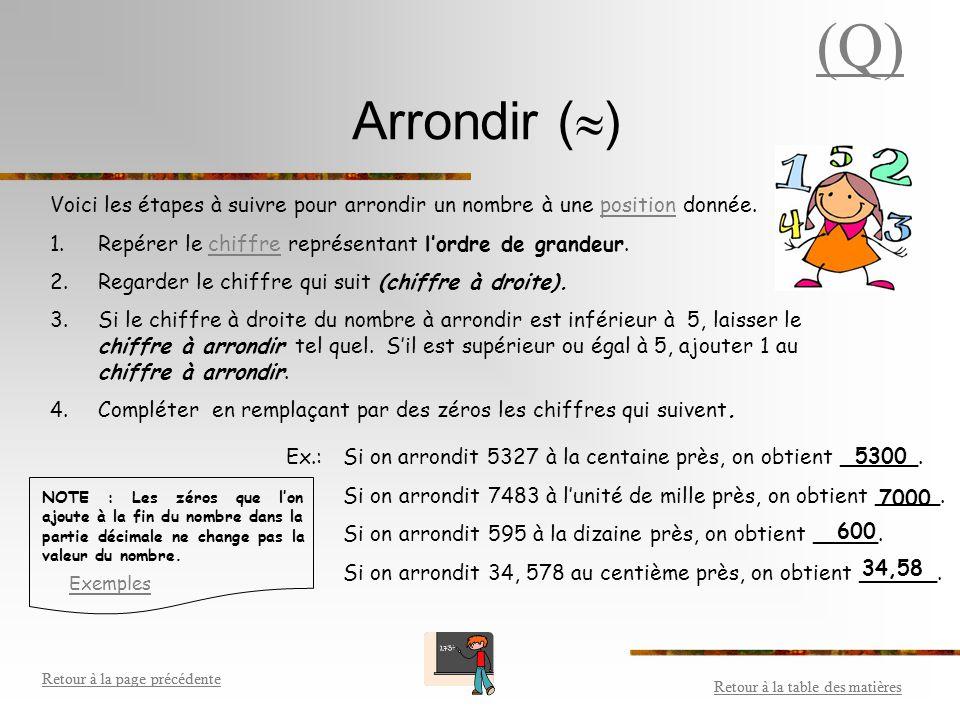 (Q) Arrondir () Voici les étapes à suivre pour arrondir un nombre à une position donnée. Repérer le chiffre représentant l'ordre de grandeur.
