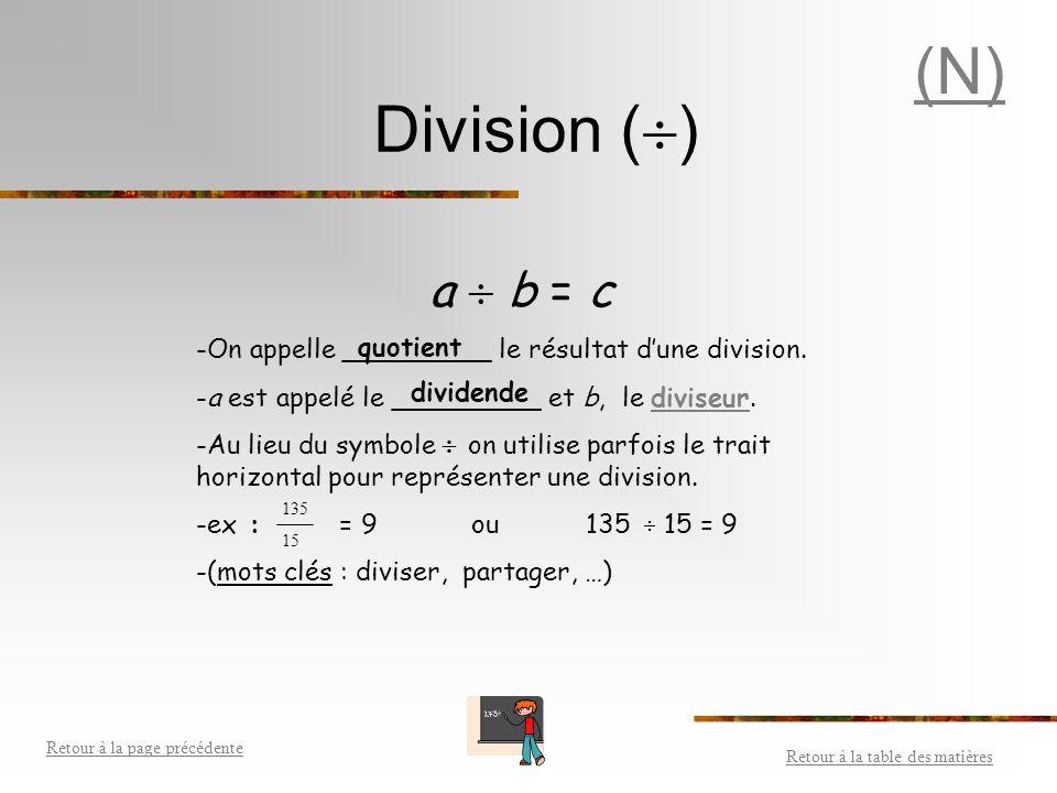 (N) Division () a  b = c. On appelle _________ le résultat d'une division. a est appelé le _________ et b, le diviseur.