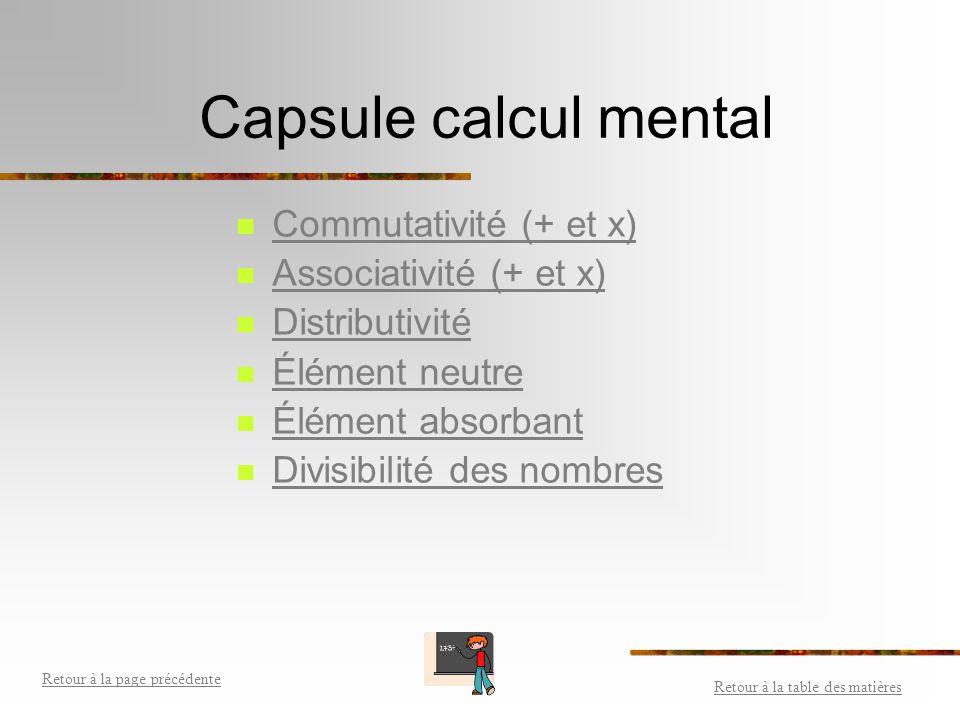 Capsule calcul mental Commutativité (+ et x) Associativité (+ et x)