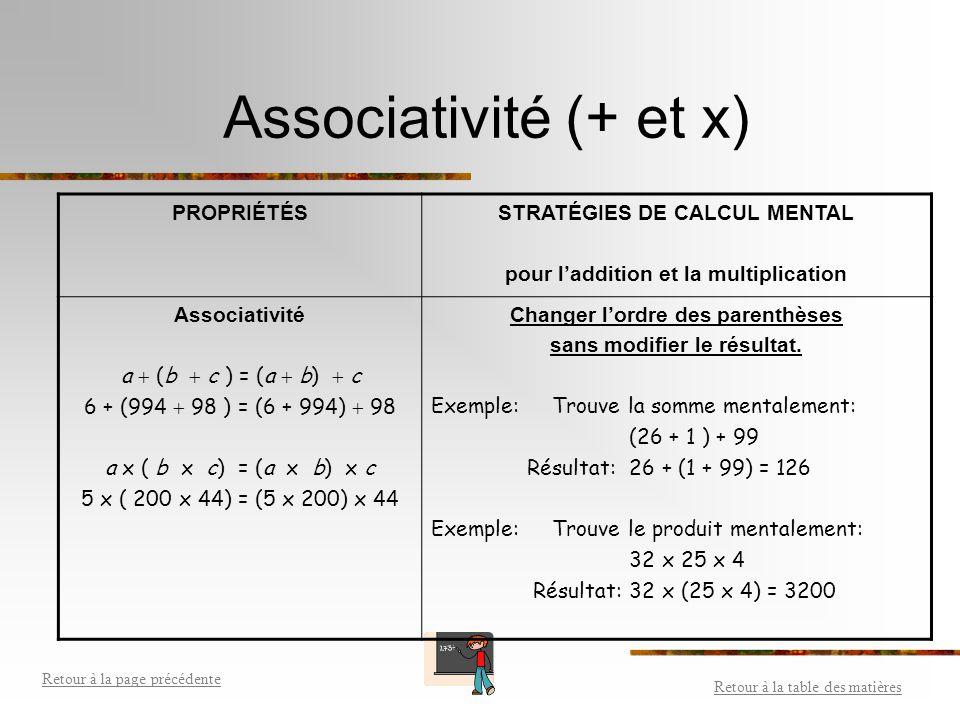 Associativité (+ et x) PROPRIÉTÉS STRATÉGIES DE CALCUL MENTAL