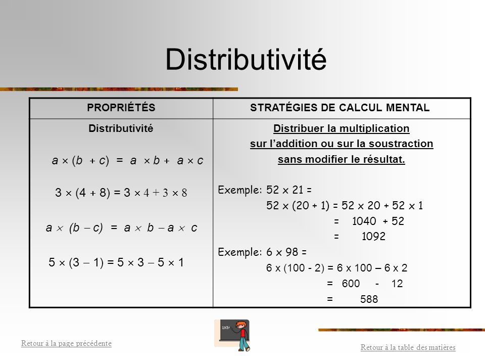 Distributivité 3  (4  8) = 3  4 + 3  8 a  (b  c) = a  b  a  c