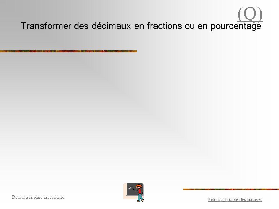 Transformer des décimaux en fractions ou en pourcentage