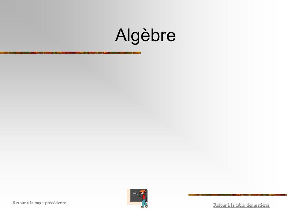 Algèbre Retour à la table des matières Retour à la page précédente