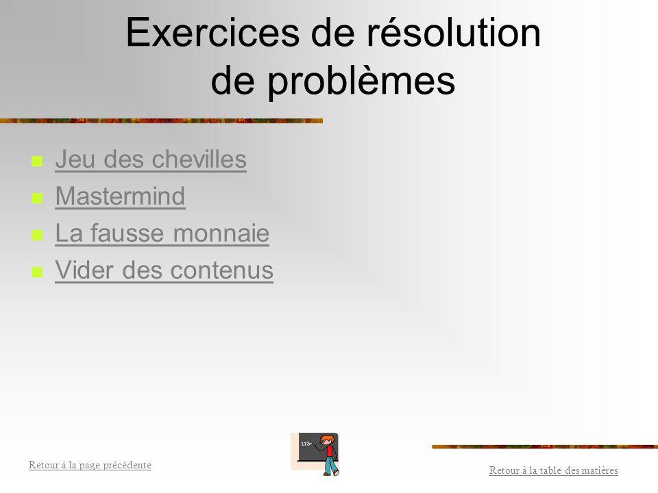 Exercices de résolution de problèmes