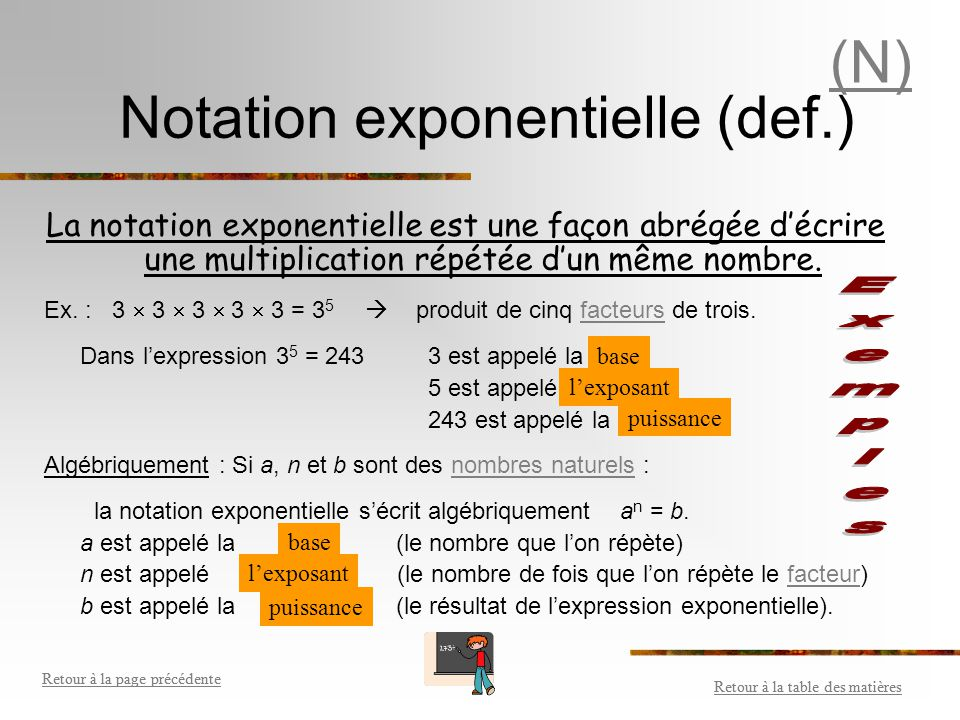 Notation exponentielle (def.)