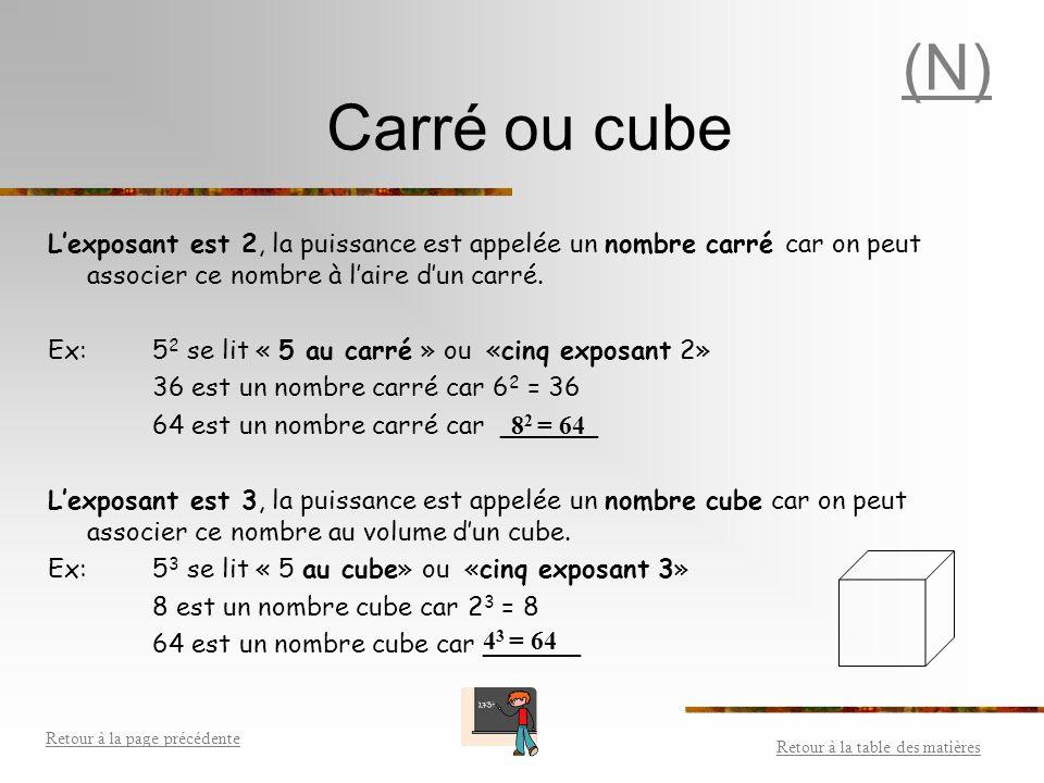 (N) Carré ou cube. L'exposant est 2, la puissance est appelée un nombre carré car on peut associer ce nombre à l'aire d'un carré.