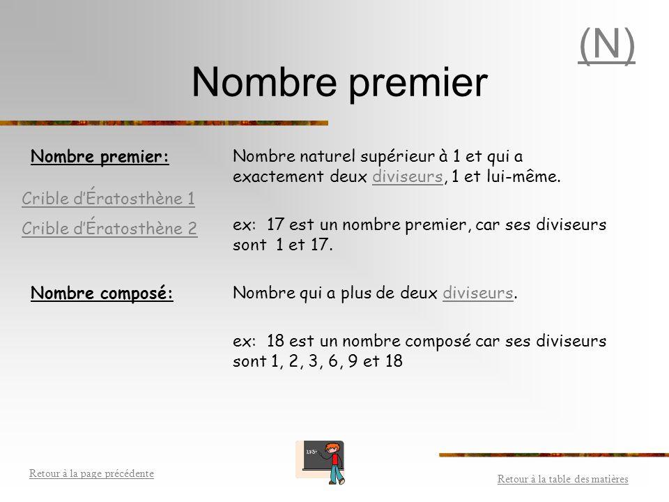 (N) Nombre premier. Nombre premier: Nombre naturel supérieur à 1 et qui a exactement deux diviseurs, 1 et lui-même.