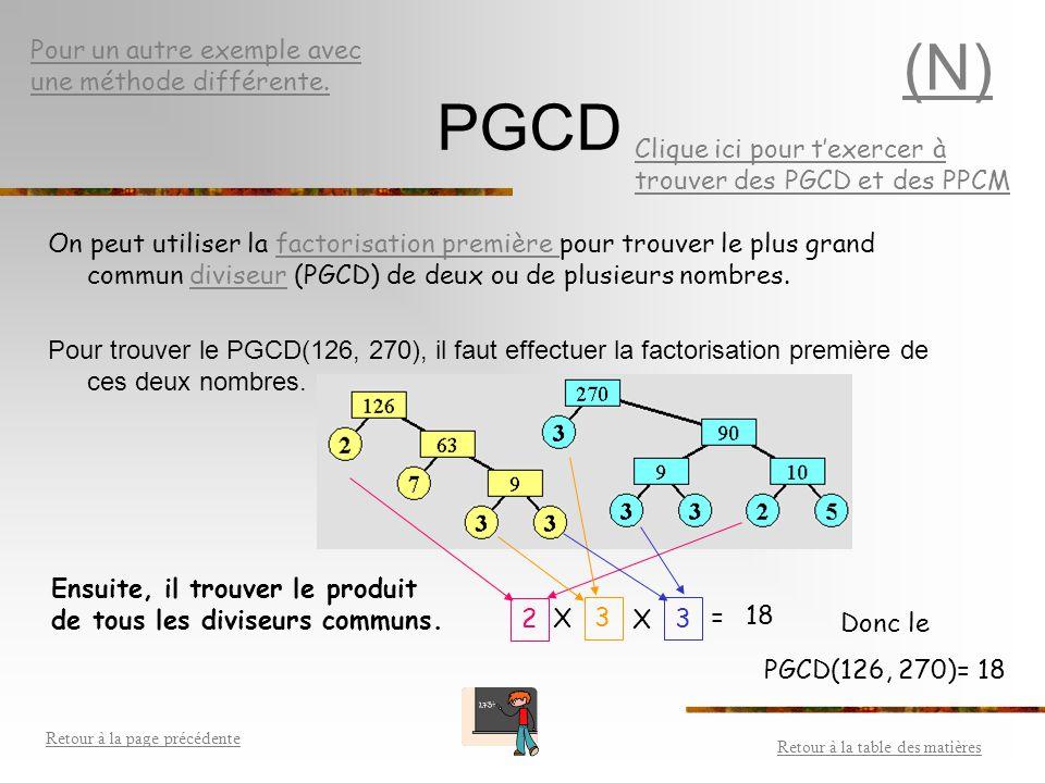 (N) PGCD Pour un autre exemple avec une méthode différente.