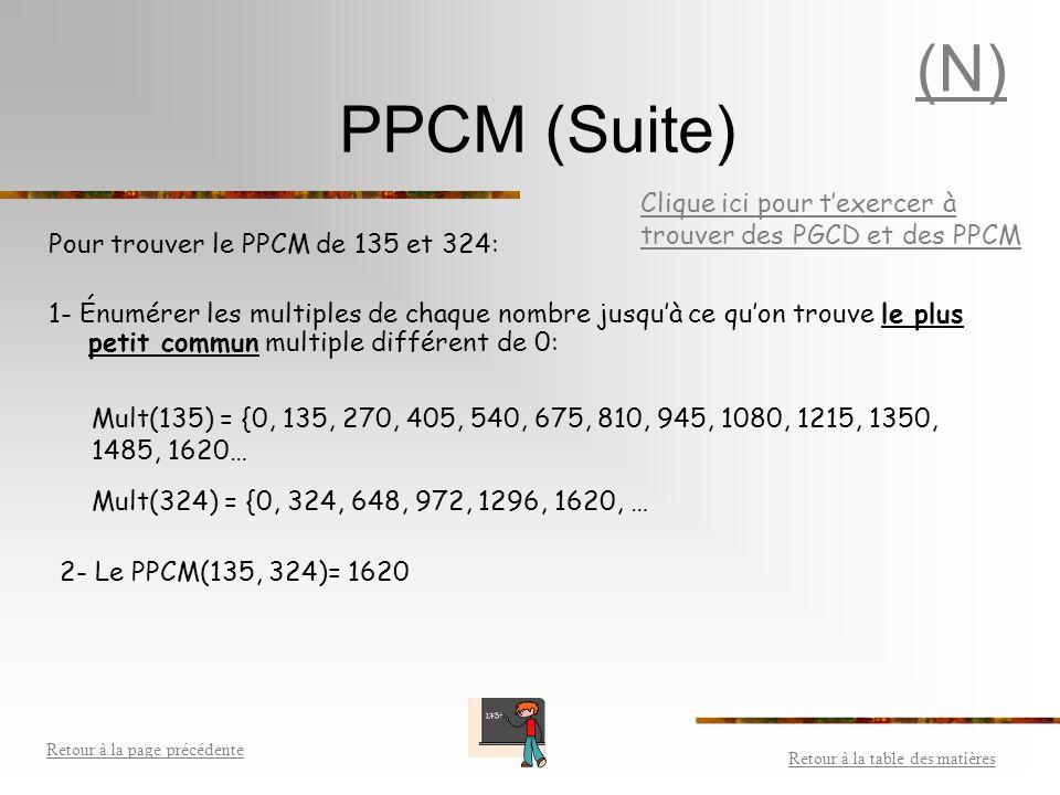 (N) PPCM (Suite) Clique ici pour t'exercer à trouver des PGCD et des PPCM. Pour trouver le PPCM de 135 et 324: