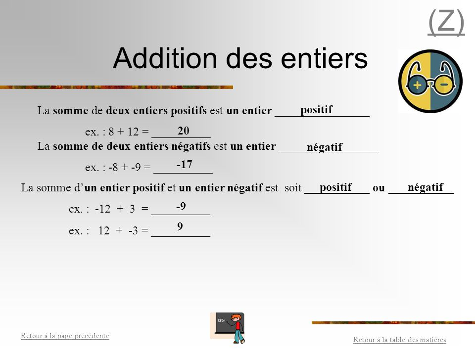 (Z) Addition des entiers