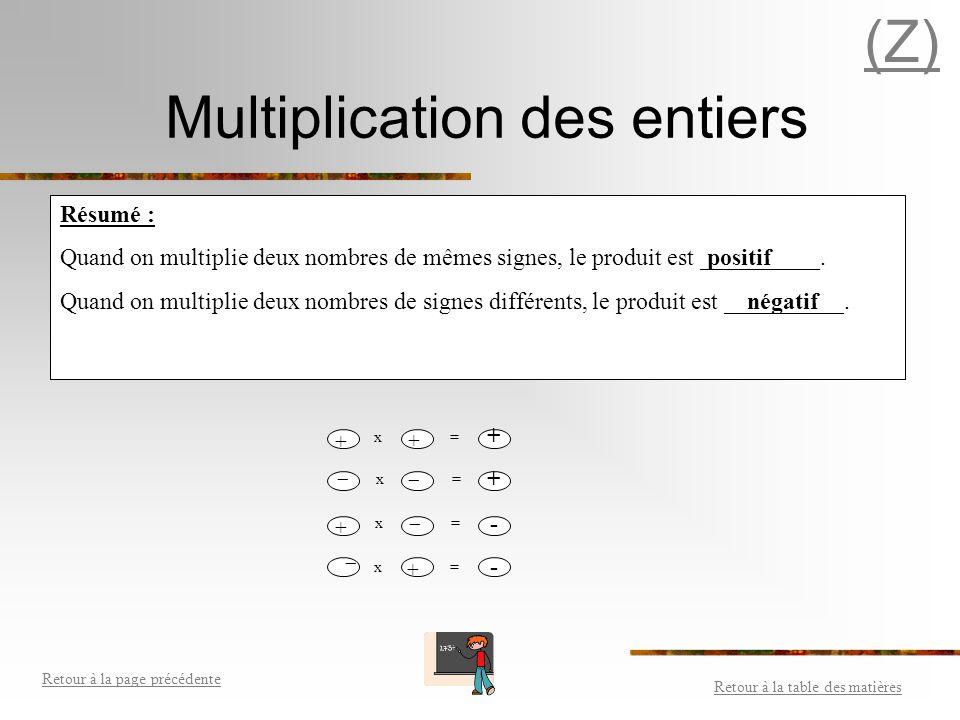 Multiplication des entiers