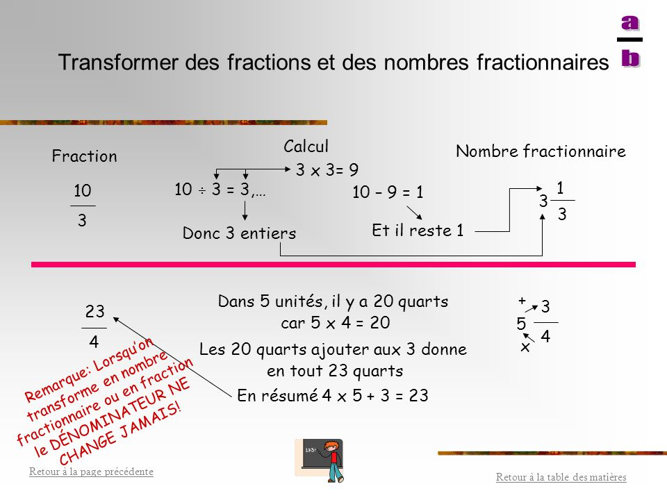 Transformer des fractions et des nombres fractionnaires
