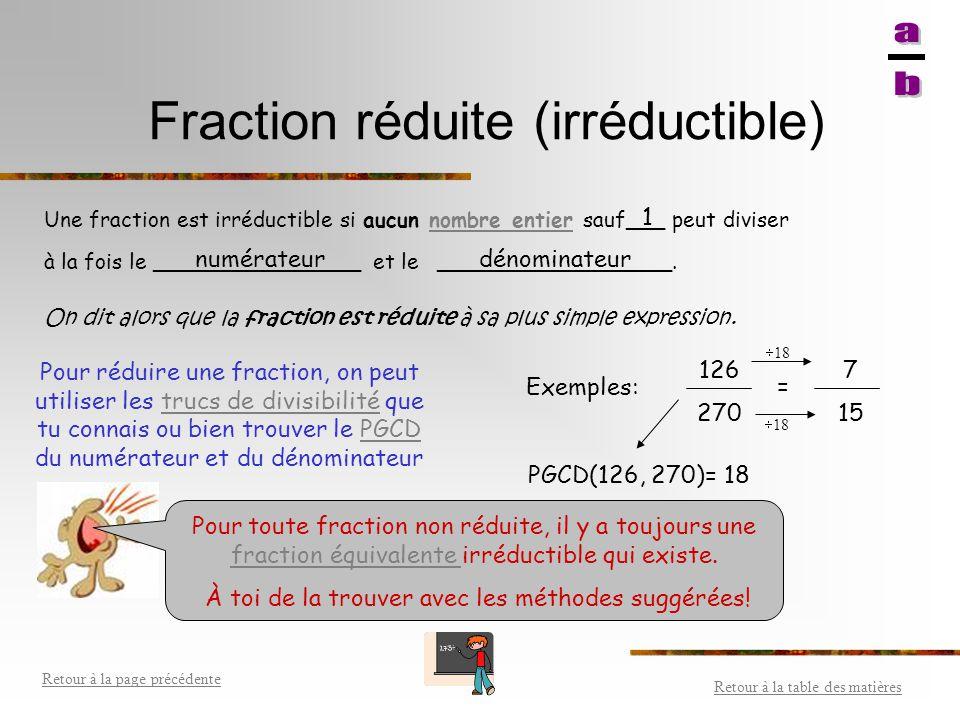 Fraction réduite (irréductible)
