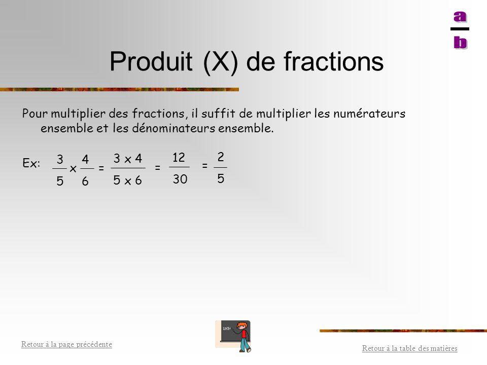 Produit (X) de fractions