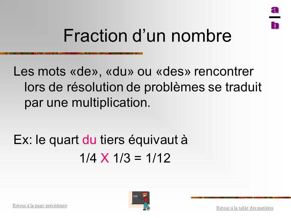 Fraction d'un nombre a b