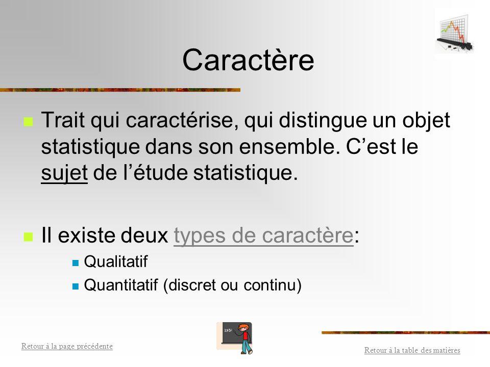 Caractère Trait qui caractérise, qui distingue un objet statistique dans son ensemble. C'est le sujet de l'étude statistique.