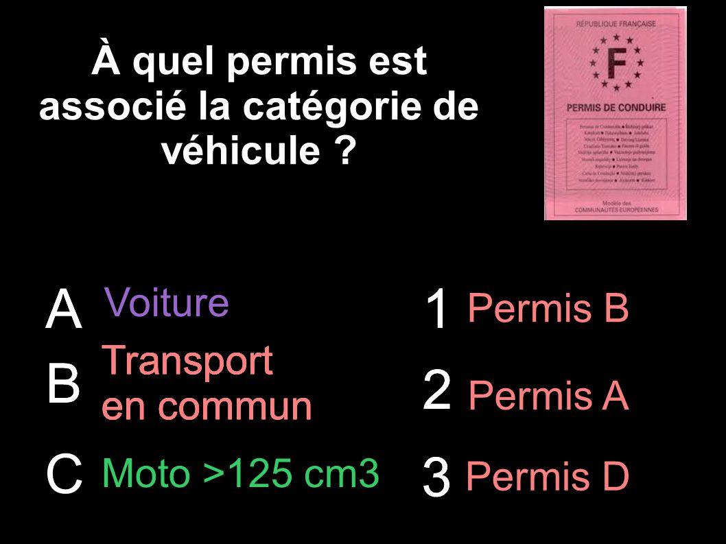 À quel permis est associé la catégorie de véhicule