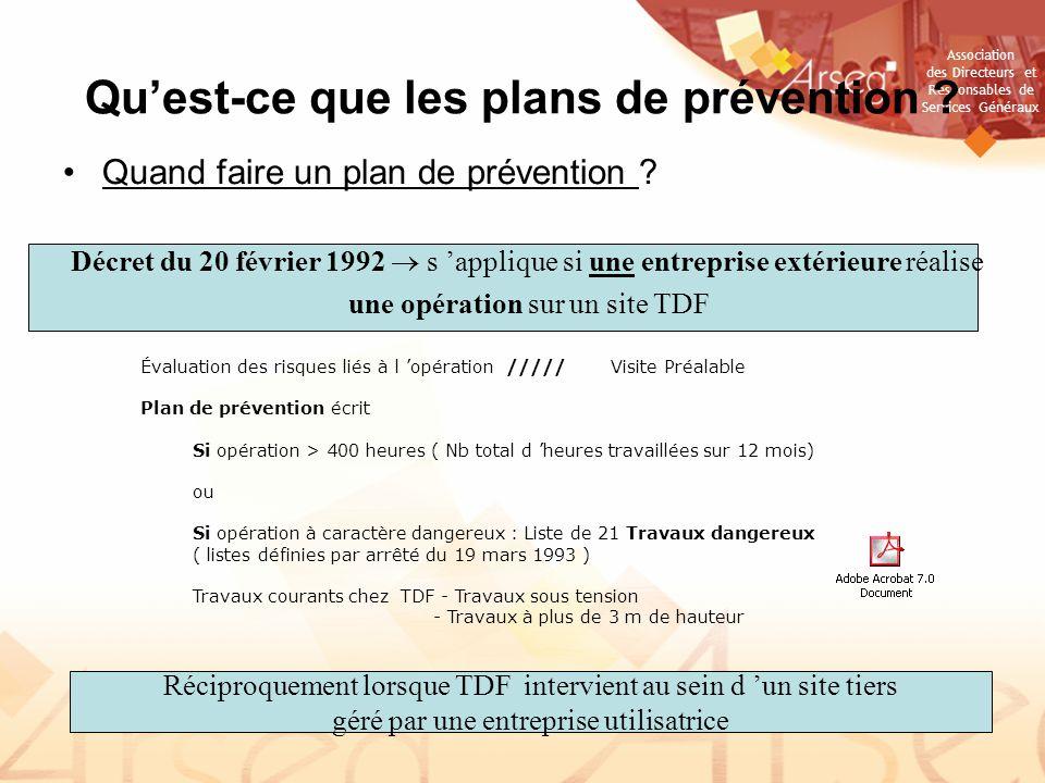 Club securite arseg presentation du dossier le plan de for Plan de prevention des risques entreprises exterieures