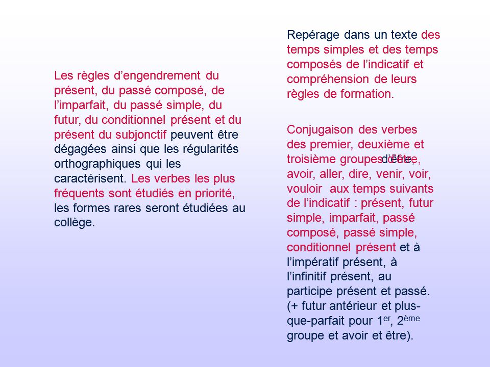 Etude de la langue francaise grammaire vocabulaire for Dans un premier temps