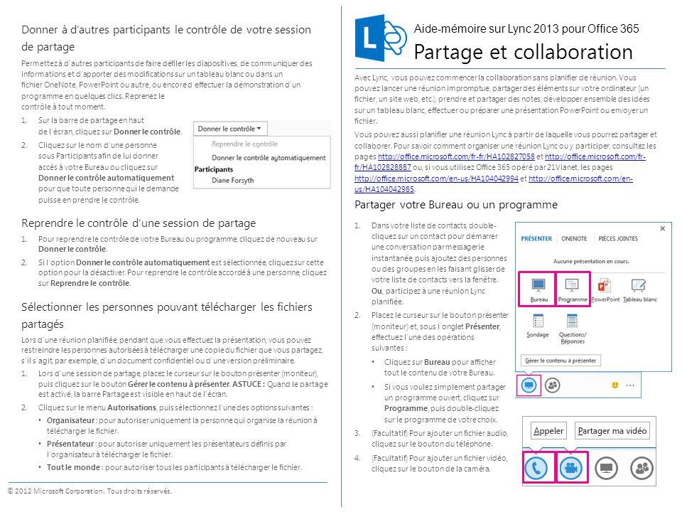 Aide m moire sur lync 2013 pour office ppt t l charger - Telecharger un bloc note pour le bureau ...