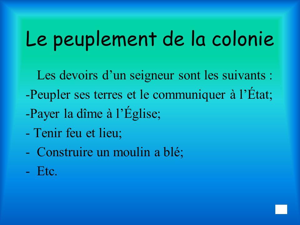 Le peuplement de la colonie