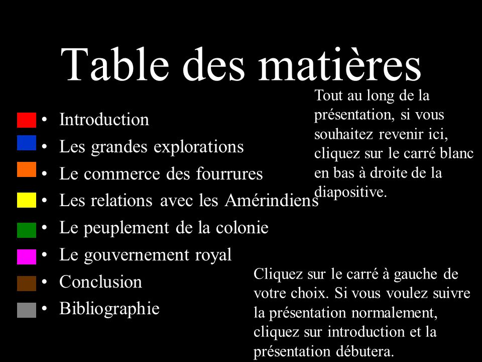 Table des matières Introduction Les grandes explorations