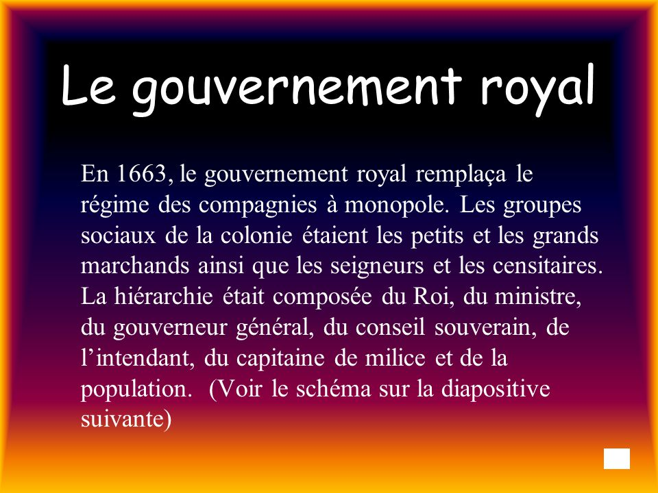 Le gouvernement royal