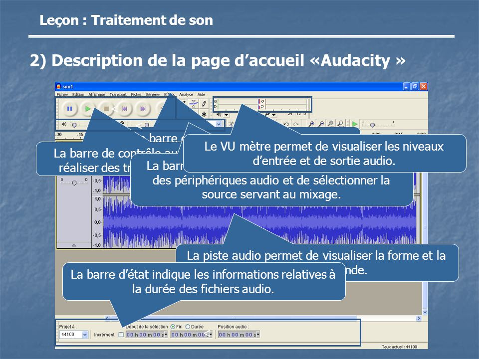 2) Description de la page d'accueil «Audacity »