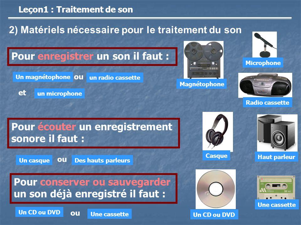 2) Matériels nécessaire pour le traitement du son