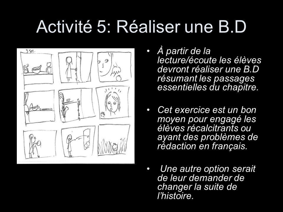 Activité 5: Réaliser une B.D