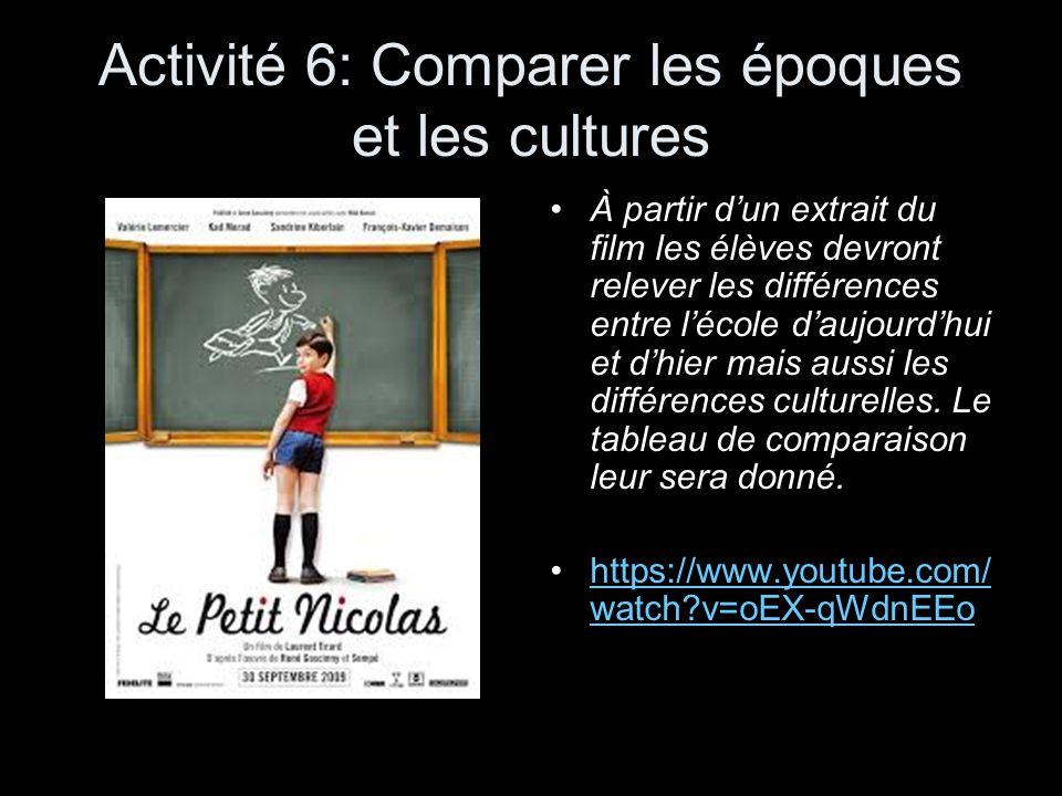 Activité 6: Comparer les époques et les cultures