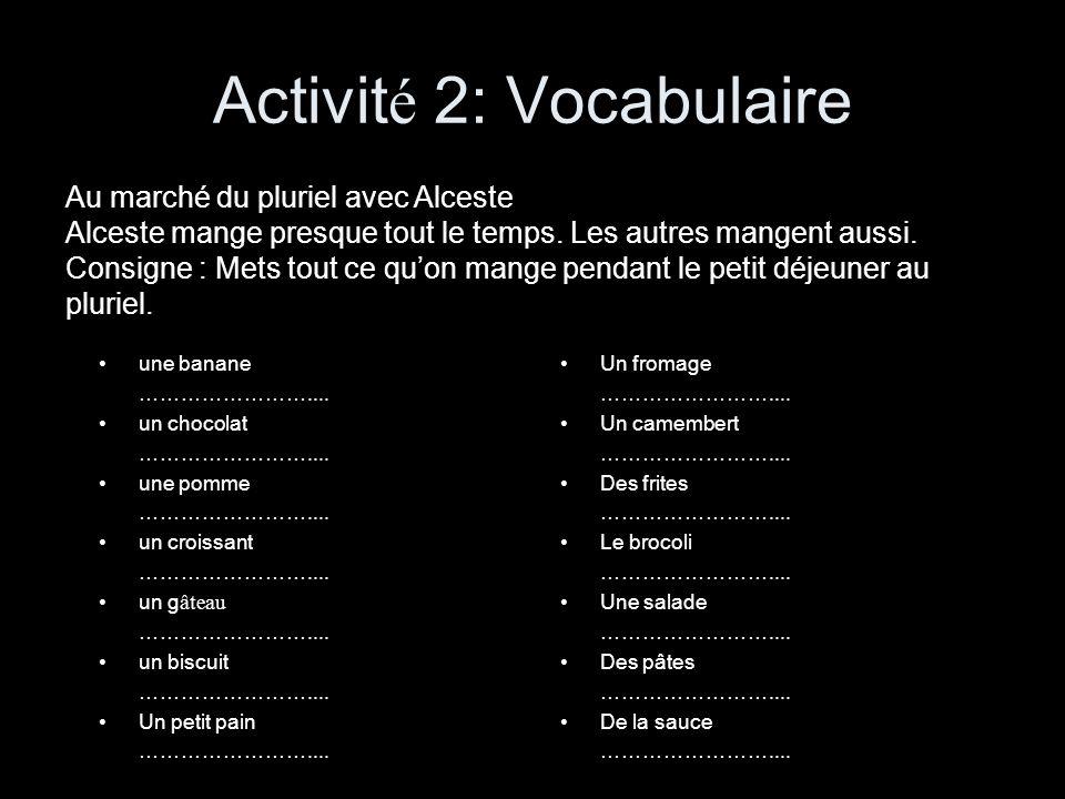 Activité 2: Vocabulaire