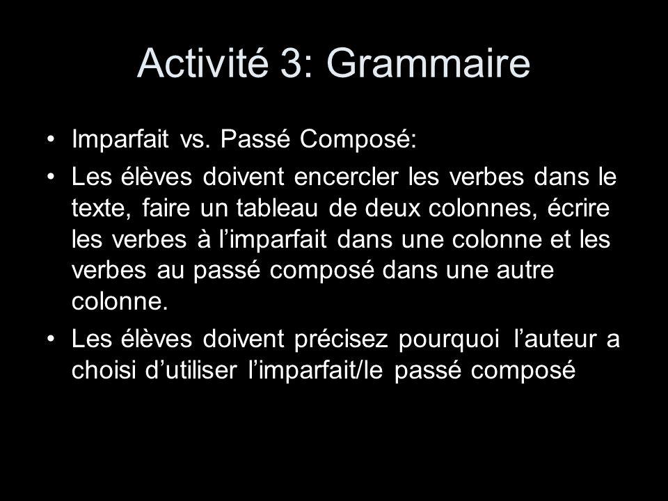 Activité 3: Grammaire Imparfait vs. Passé Composé:
