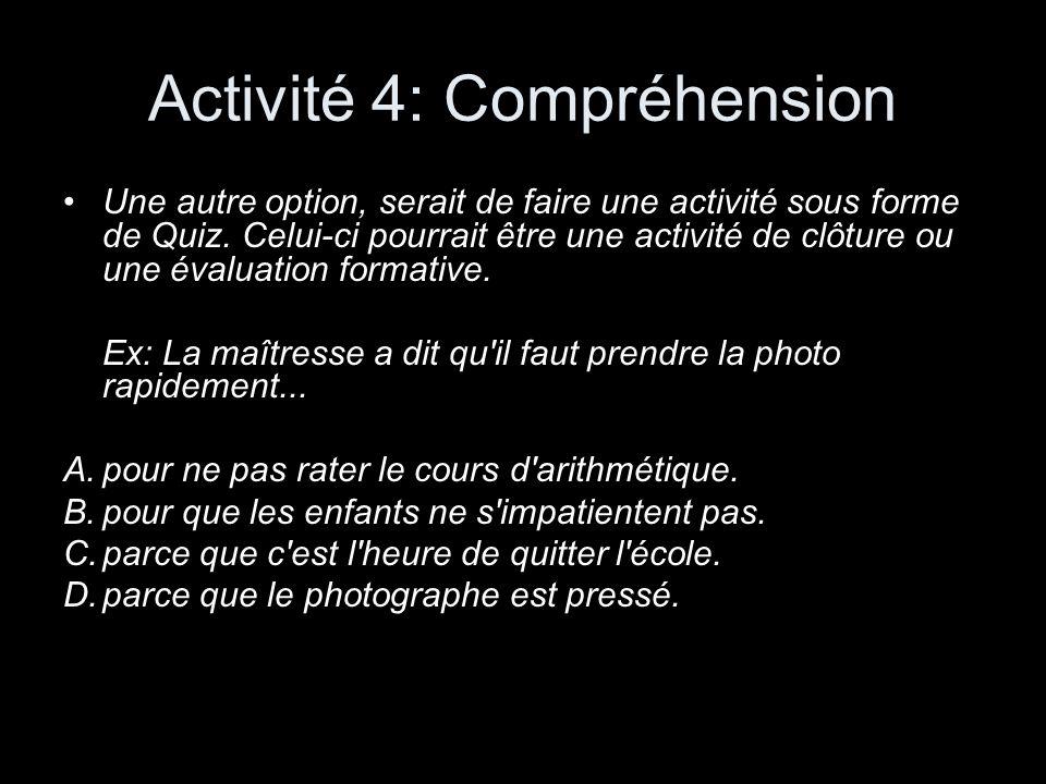 Activité 4: Compréhension