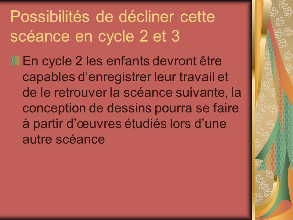 Possibilités de décliner cette scéance en cycle 2 et 3