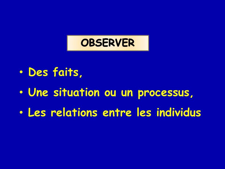 Une situation ou un processus, Les relations entre les individus
