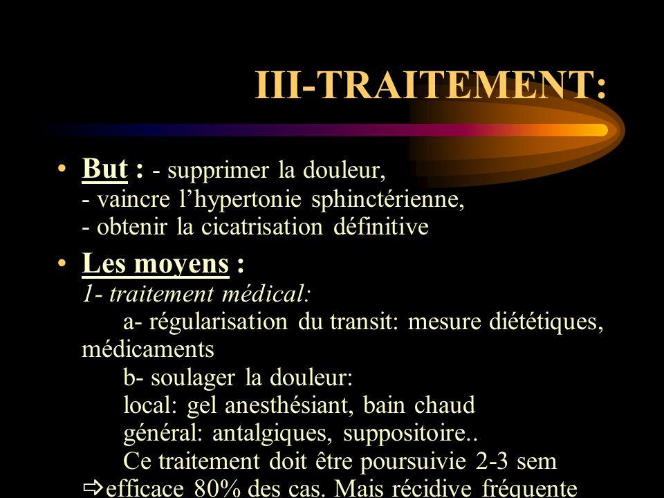 III-TRAITEMENT: But : - supprimer la douleur, - vaincre l'hypertonie sphinctérienne, - obtenir la cicatrisation définitive.