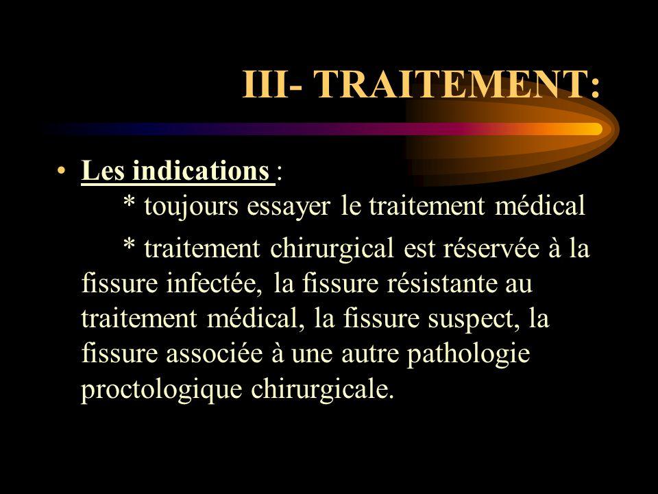 III- TRAITEMENT: Les indications : * toujours essayer le traitement médical.