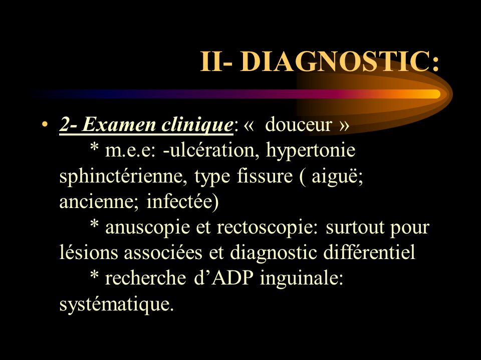 II- DIAGNOSTIC: