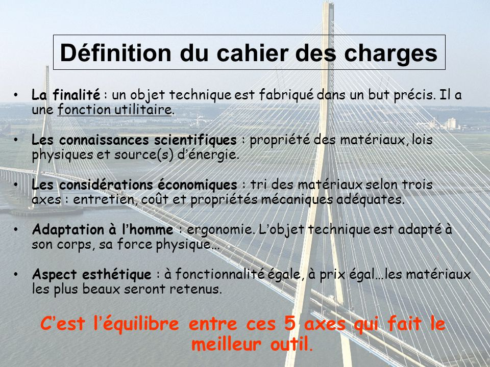 Mise en pratique construction de ponts en papier ppt video online t l cha - Definition de cahier de charge ...