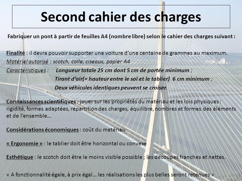 Second cahier des charges