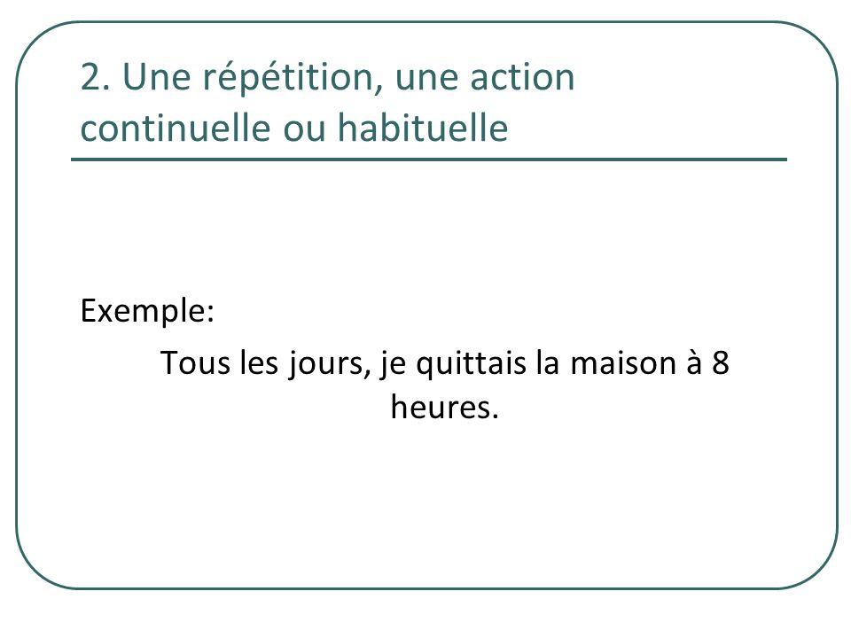 2. Une répétition, une action continuelle ou habituelle