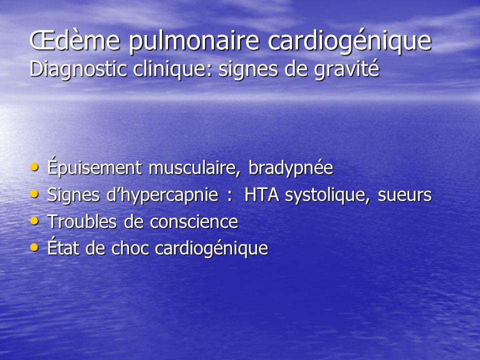 Œdème pulmonaire cardiogénique Diagnostic clinique: signes de gravité