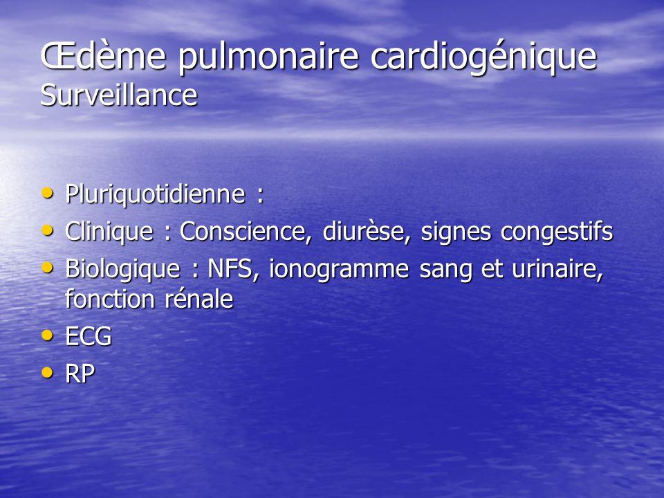 Œdème pulmonaire cardiogénique Surveillance