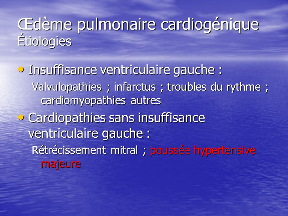 Œdème pulmonaire cardiogénique Étiologies