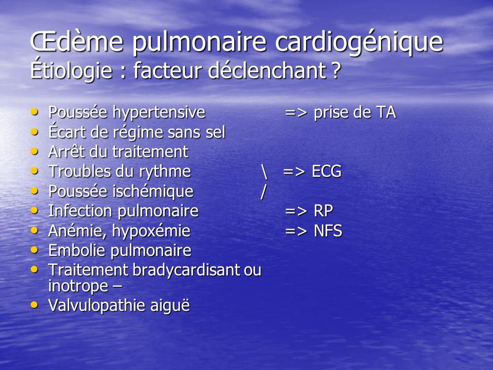 Œdème pulmonaire cardiogénique Étiologie : facteur déclenchant